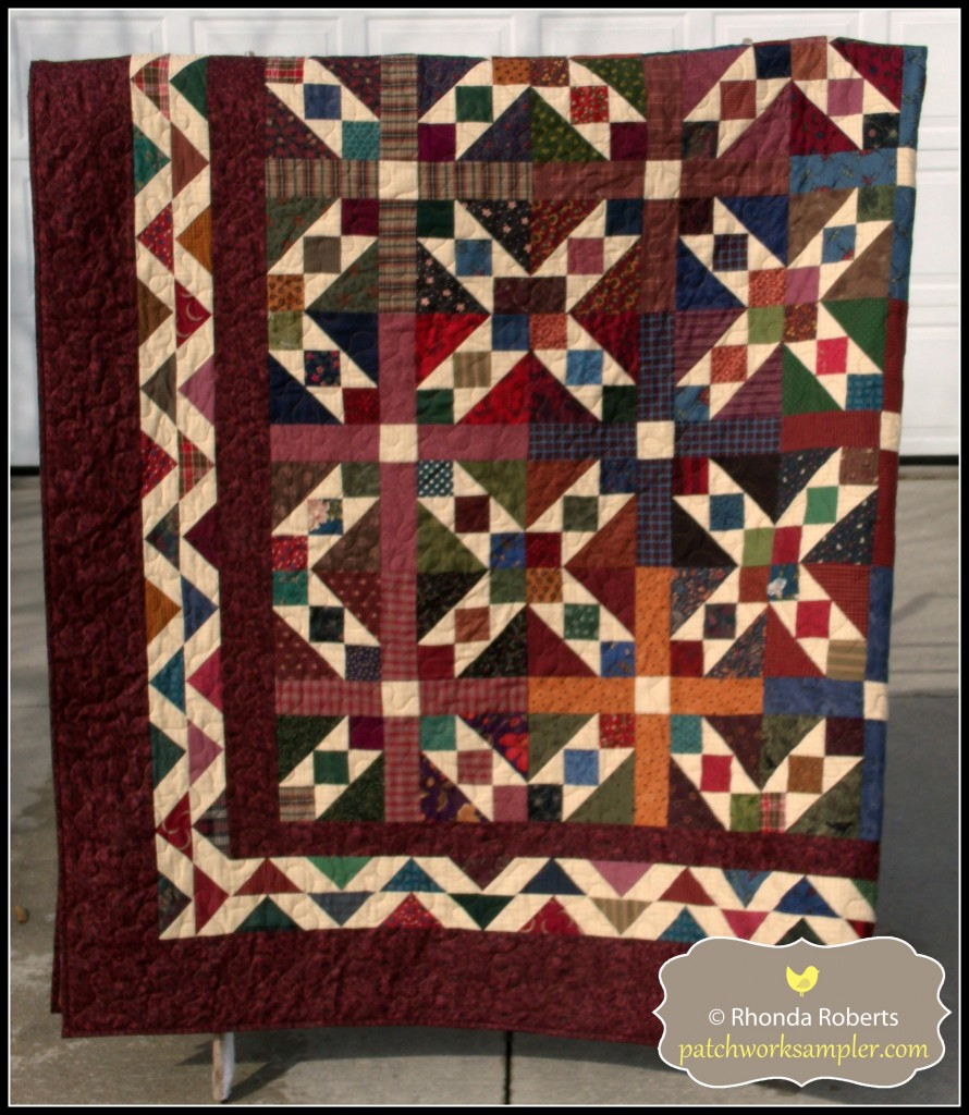 This is Buffalo Ridge, another quilt from the book All-Time Favorite Quilts.  It is made entirely from scraps and a piece of homespun background fabric from stash.