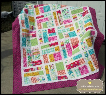 This is another charity quilt made from a pattern by Amelie Scott called Bundle of 10.  The pattern is for sale as a pdf download at Craftsy.com.