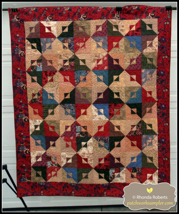 This pattern is in two of my favorite books: All-Time Favorite Quilts and Scrap-Basket Surprises.  It is a Kim Brackett design made from some fat quarters I've had in my stash for a long time.  I think it's a Moda line by Terry Clothier Thompson and Barbara Brackman.