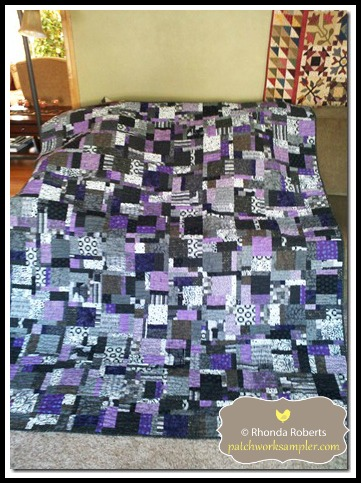 Made from the pattern Lemon Pepper by Madison Cottage Quilts.  Jen picked out the fabrics to match her room at school.