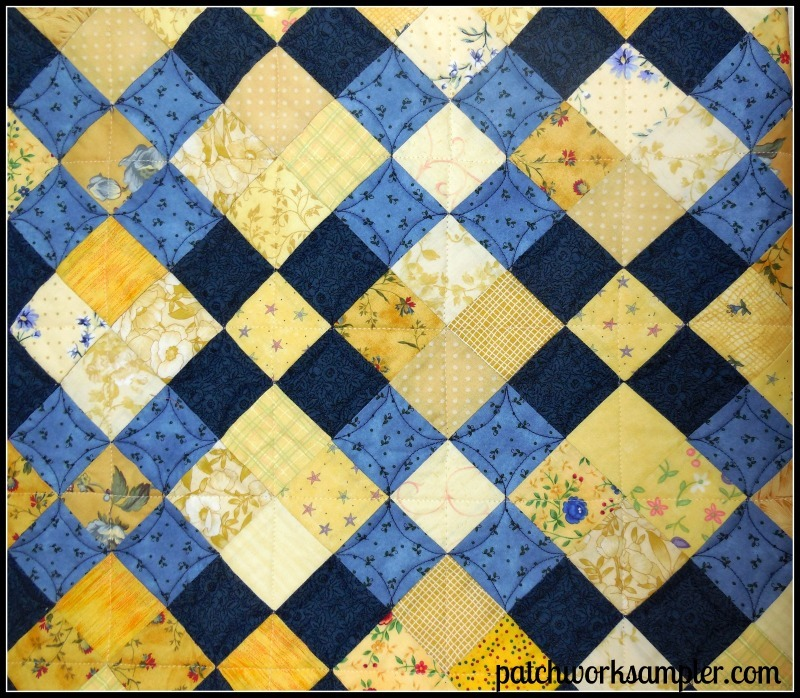 nine patch Archives - Patchwork Sampler : blue and yellow quilt - Adamdwight.com
