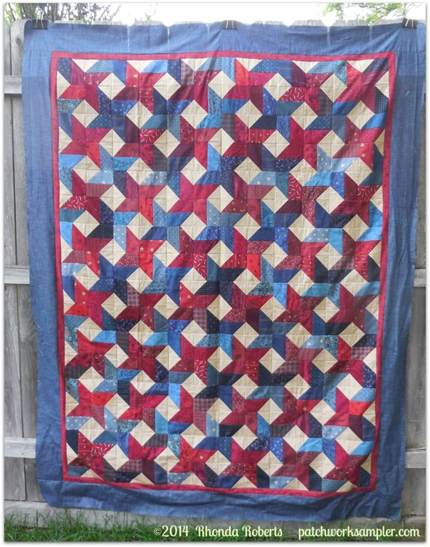 Bradley red blue patchwork quilt