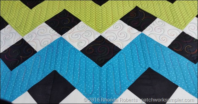 rainbow chevron quilting close-up