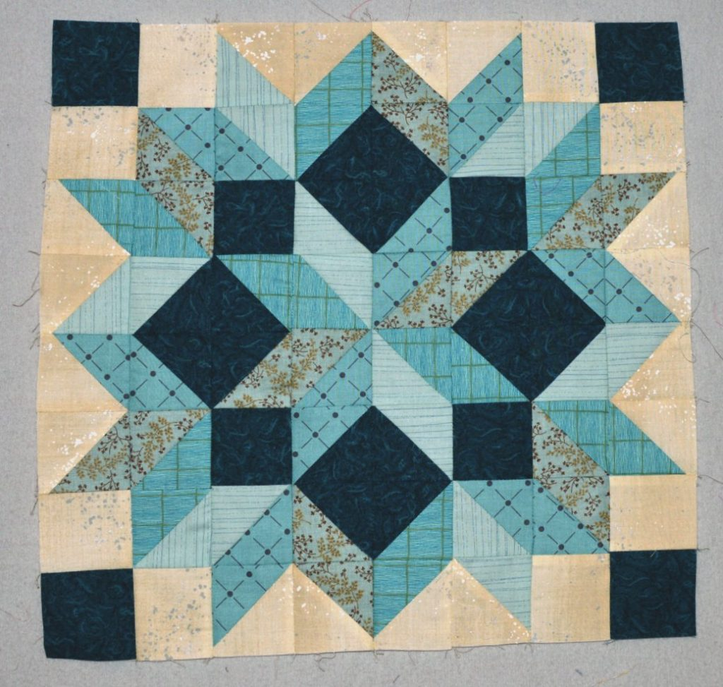 rainbow scrap challenge aqua carpenters star block