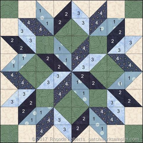 numbered carpenter's star block diagram