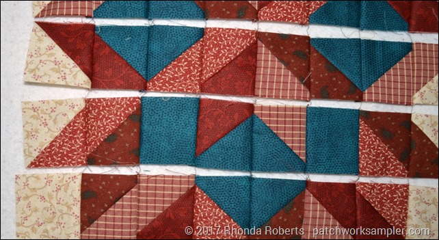 closeup of webbed carpenter's star block