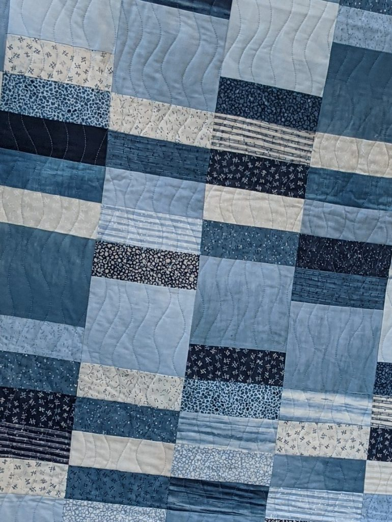 wavy quilting on The Blues Quilt