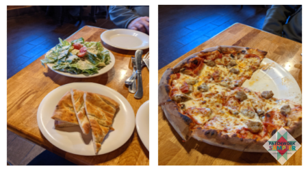 pizza and salad from Element Wood Fired Pizza
