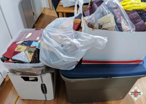 bins of scrap fabric